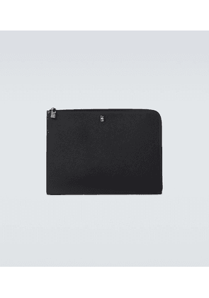 Large grained leather gusset pouch