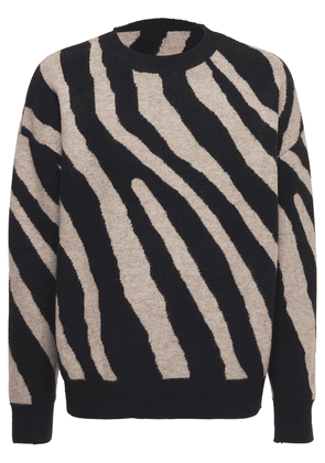Zebra Acrylic Blend Knit Sweater