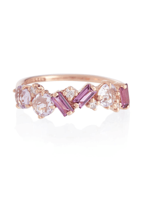 Amalfi 14kt rose gold ring with diamonds, rhodolite and amethyst