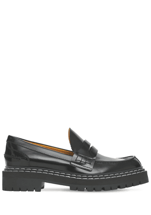30mm Lug Brushed Leather Loafers