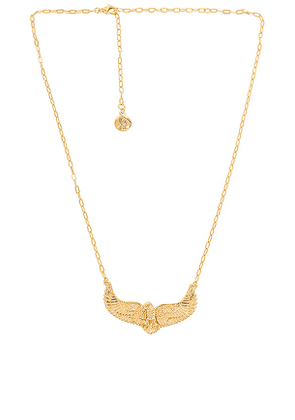 Temple of the Sun Eagle Necklace in Metallic Gold.
