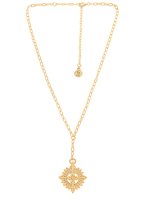 Temple of the Sun Anki Necklace in Metallic Gold.