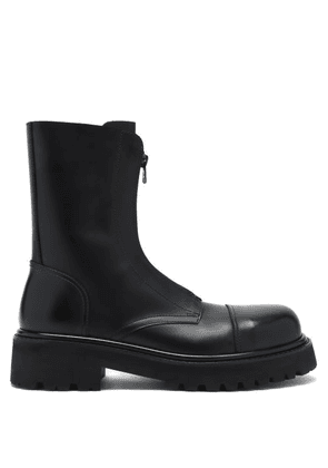 Vetements - Zipped Leather Ankle Boots - Mens - Black