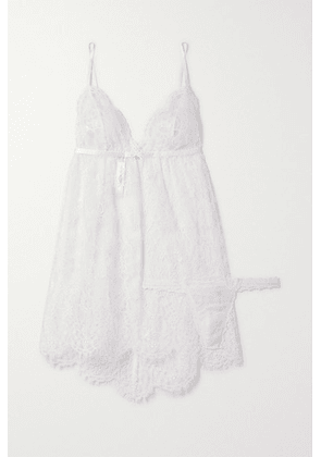 Hanky Panky - + Net Sustain + Monique Lhuillier Chérie Chantilly Lace Chemise And Thong Set - White