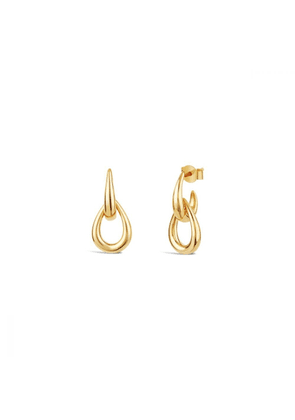 Dinny Hall Gold Raindrop Double Link Stud Earrings