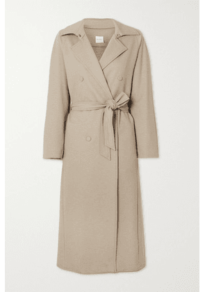 Max Mara - + Leisure Cinghia Belted Double-breasted Wool-blend Jersey Trench Coat - Beige