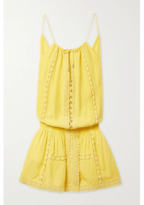 Melissa Odabash - Chelsea Crochet-trimmed Voile Mini Dress - Bright yellow