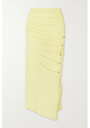 Acne Studios - Ruched Stretch-jersey Midi Skirt - Pastel yellow
