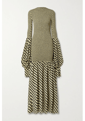 Petar Petrov - Alodie Shirred Striped Silk Maxi Dress - Ivory