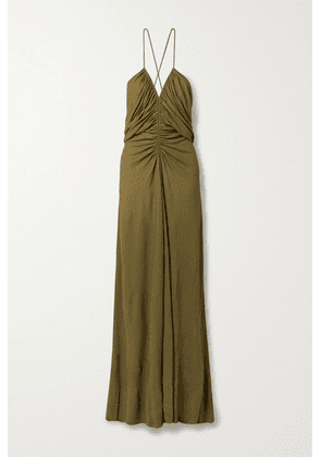 Petar Petrov - Amia Open-back Leather-trimmed Ruched Crepe Maxi Dress - Dark green