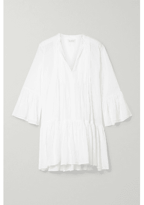 Evarae - + Net Sustain Loli Pleated Swiss-dot Tencel Lyocell Mini Dress - White