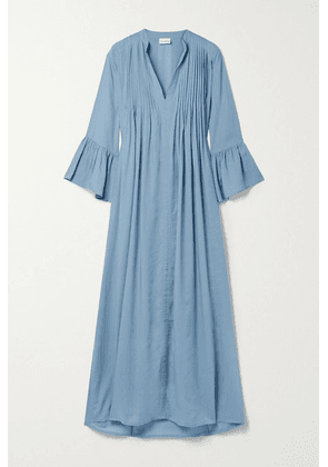 Evarae - + Net Sustain Katia Pintucked Swiss-dot Tencel Lyocell Maxi Dress - Azure