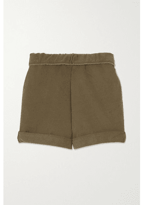 FRAME - Organic Cotton-terry Shorts - Army green