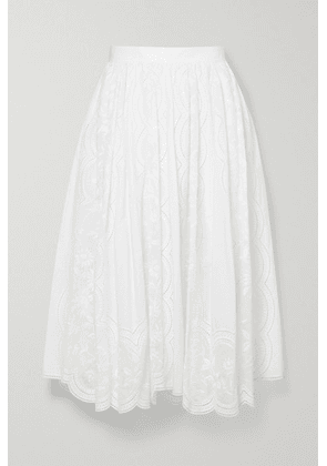 Tory Burch - Scalloped Broderie Anglaise Cotton-poplin Skirt - White