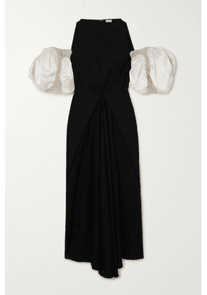 Loewe - Cold-shoulder Crepe And Satin Maxi Dress - Black