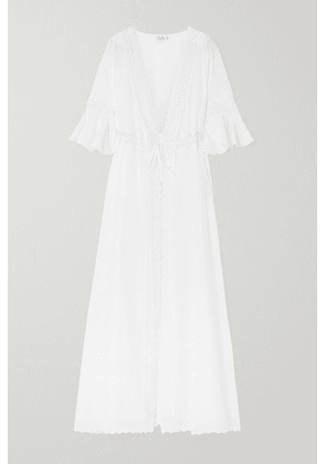 Charo Ruiz - Crocheted Lace-trimmed Cotton-blend Voile Robe - White