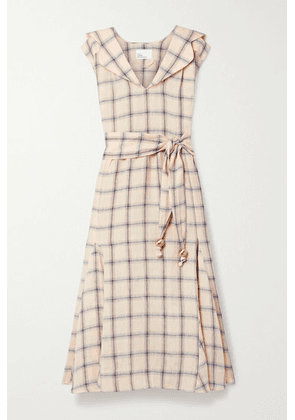 Lisa Marie Fernandez - + Net Sustain Marguerite Belted Checked Linen Midi Dress - Peach
