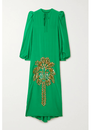 Johanna Ortiz - Sequin-embellished Appliquéd Silk-blend Crepe De Chine Maxi Dress - Green