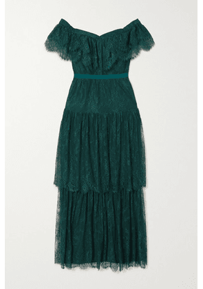 Self-Portrait - Off-the-shoulder Tiered Lace Maxi Dress - Green