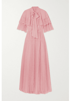 Self-Portrait - Lace-trimmed Pleated Chiffon Maxi Dress - Pink