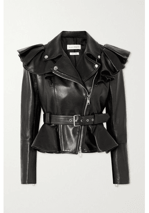Alexander McQueen - Belted Ruffled Leather Biker Jacket - Black