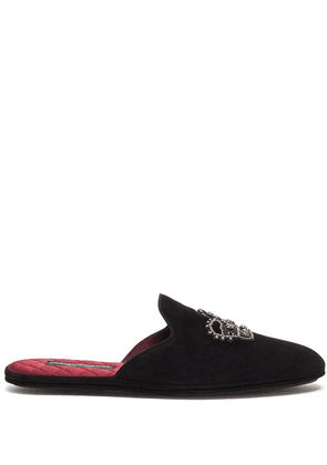Dolce & Gabbana crown-embroidered slippers - Black