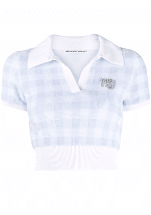 alexanderwang.t logo patch gingham check cropped top - Blue