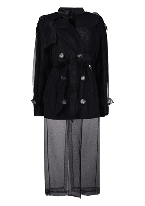 Act N°1 double-breasted tulle coat - Black