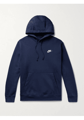 Nike - Club Logo-Embroidered Cotton-Blend Jersey Hoodie - Men - Blue - XS