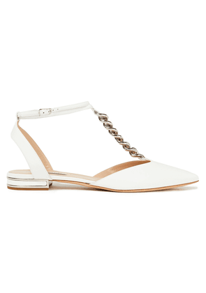 Casadei Chain-trimmed Leather Point-toe Flats Woman White Size 36