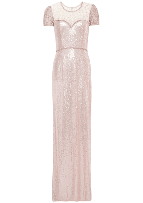 Jenny Packham Crystal-embellished Sequined Tulle Gown Woman Pastel pink Size 14