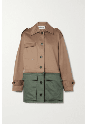 Monse - Convertible Paneled Cotton-twill Jacket - Army green