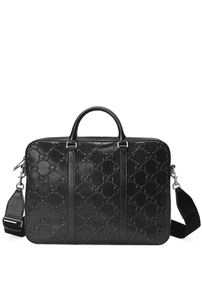 Gucci GG-embossed zipped briefcase - Black