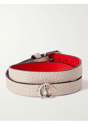 CHRISTIAN LOUBOUTIN - Silver-Tone and Textured-Leather Wrap Bracelet - Men - Gray