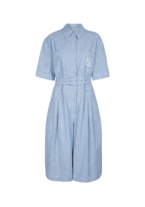 Belted cotton chambray jumpsuit