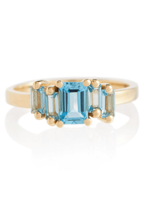 Amalfi 14kt gold ring with emerald and topaz