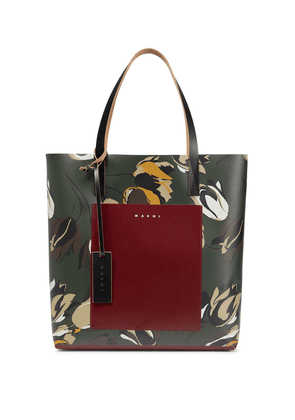 Printed leather-trimmed tote
