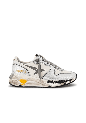 Golden Goose Running Sneaker in Metallic Silver. Size 39, 40, 35.
