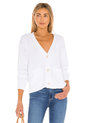 White + Warren Recycled Cotton Patch Pocket Cardigan in White. Size S, L.