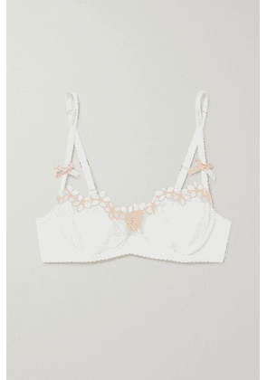 Agent Provocateur - Maybelle Embroidered Stretch-tulle And Mesh Underwired Bra - White