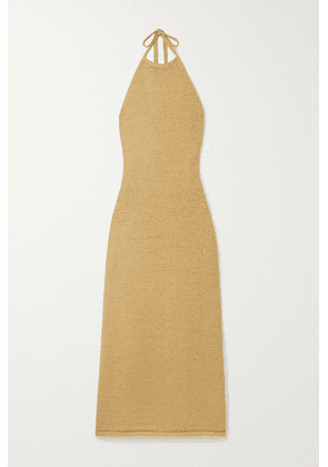 Cult Gaia - Karina Open-back Cotton-blend Halterneck Maxi Dress - Sand