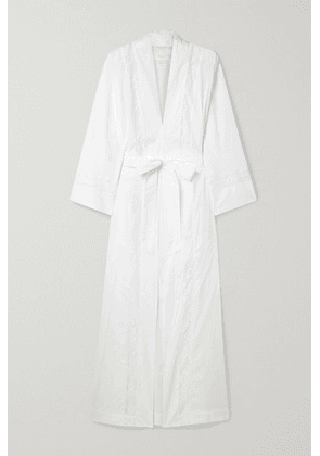 Loretta Caponi - Clarice Belted Lace-paneled Cotton-voile Robe - White
