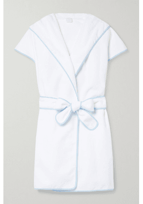 Loretta Caponi - Ines Hooded Embroidered Cotton-terry Robe - White