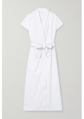 Loretta Caponi - Lidia Hooded Embroidered Cotton-terry Robe - White