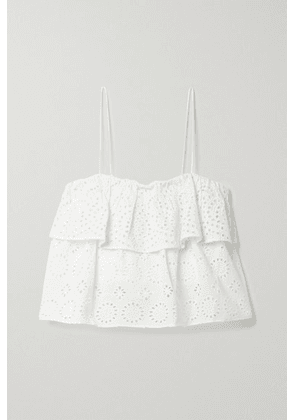 Alice + Olivia - Marylynn Cropped Tiered Broderie Anglaise Cotton-voile Top - Off-white