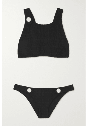 Lisa Marie Fernandez - + Net Sustain Button-embellished Seersucker Bikini - Black