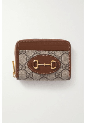 Gucci - 1955 Horsebit Small Leather-trimmed Printed Coated-canvas Cardholder - Brown