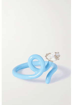 Bea Bongiasca - Baby Vine Tendril Gold, Silver, Enamel And Rock Crystal Ring - Blue