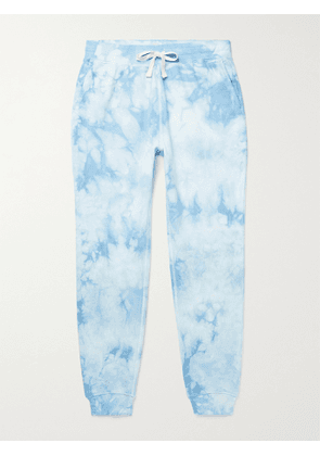 FAHERTY - Slim-Fit Tapered Tie-Dyed Loopback Cotton-Jersey Sweatpants - Men - Blue - S