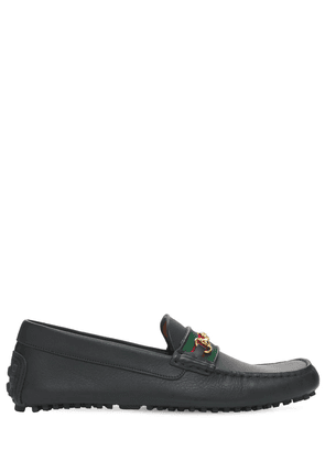 10mm Web Leather Driver Loafers